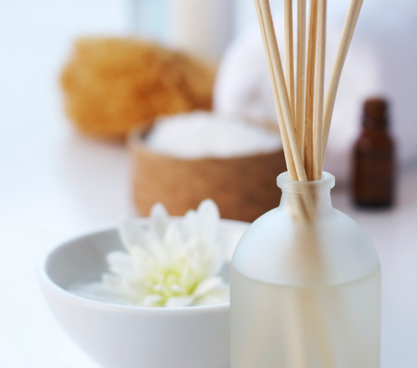 fragrance diffuser reeds in a bathroom
