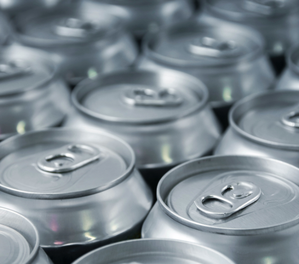 Silver cans of soda