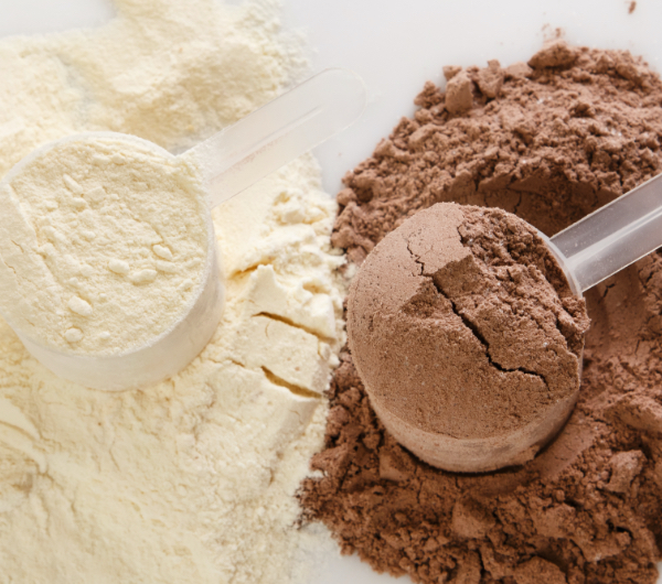 vanilla and chocolate powders in scoops and piles