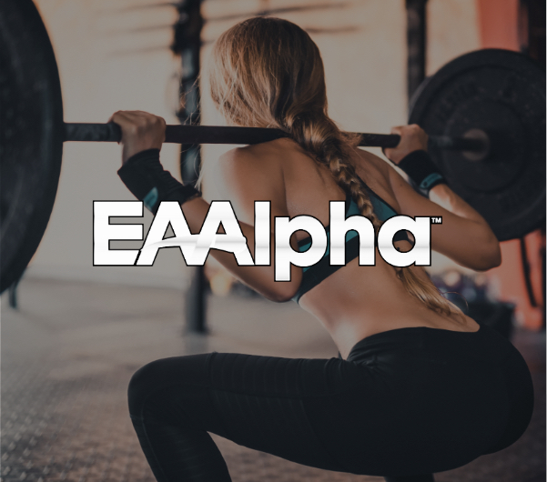 "A woman squatting with ""EAAlpha"" text overlaid."