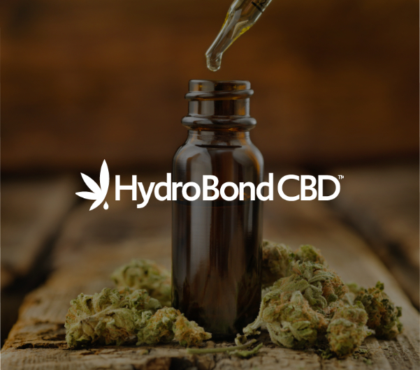 "A dropper and vial with ""HydroBond CBD"" overlaid."